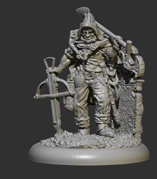 james olley concept artist, grave robber sculpt for anti matter games