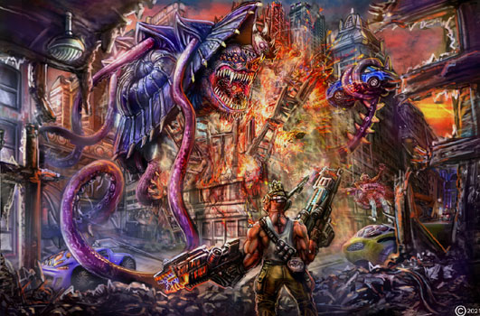 james olley enviroment monster destroying a city