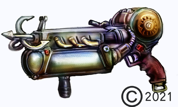 james olley concept artist, grapple gun