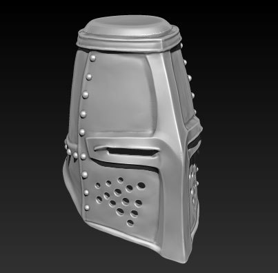 james olley concept artist, medieval helmet crusader sculpt z brush