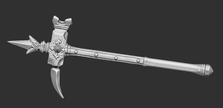 james olley concept artist, medieval warhammer weapon crusader sculpt z brush