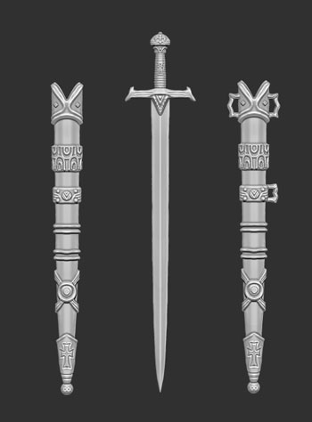 james olley concept artist, medieval long sword weapon crusader sculpt z brush