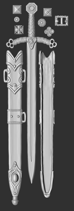 james olley concept artist arming sword weapon concept sculpt