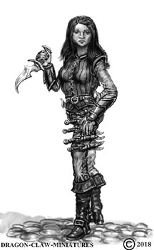 james olley concept artist, female warrior character forDragon claw miniatures