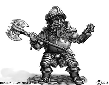 james olley warrior character concept for Dragon claw miniatures