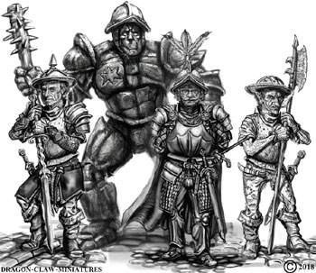 james olley warrior character concepts for Dragon claw miniatures