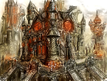 james olley concept artist,gothic castle landscape concept artwork